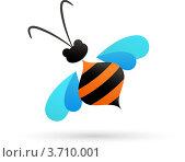 Купить «Стилизованная пчела на белом фоне», иллюстрация № 3710001 (c) Marina Zlochin / Фотобанк Лори