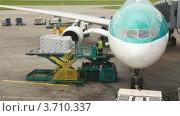 Купить «Самолет на взлетно-посадочной полосе во время загрузки багажа», видеоролик № 3710337, снято 26 октября 2010 г. (c) Losevsky Pavel / Фотобанк Лори