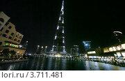 Купить «Небоскреб Бурдж Дубай и другие здания в ночное время в Дубае, ОАЭ», видеоролик № 3711481, снято 4 октября 2010 г. (c) Losevsky Pavel / Фотобанк Лори