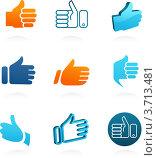 """Набор векторных иконок с жестом """"отлично"""" Стоковая иллюстрация, иллюстратор Marina Zlochin / Фотобанк Лори"""