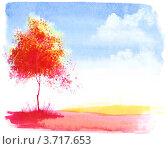 Осенний пейзаж. Стоковая иллюстрация, иллюстратор Виктория Калинина / Фотобанк Лори