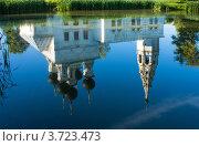 Купить «Сусанино. Отражение в в пруду Воскресенской церкви», фото № 3723473, снято 22 августа 2011 г. (c) ElenArt / Фотобанк Лори