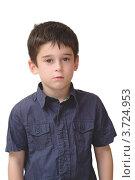 Серьезный мальчик на белом фоне. Стоковое фото, фотограф Shlomo Polonsky / Фотобанк Лори