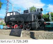 Памятник паровозу на железнодорожной станции Пермь-I, фото № 3726249, снято 8 июля 2012 г. (c) Евгений Ткачёв / Фотобанк Лори