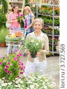 Купить «Пожилая женщина делает покупки в магазине для сада», фото № 3727569, снято 21 мая 2012 г. (c) CandyBox Images / Фотобанк Лори