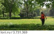Купить «Рабочий косит траву в Петергофе», видеоролик № 3731369, снято 21 мая 2010 г. (c) Losevsky Pavel / Фотобанк Лори