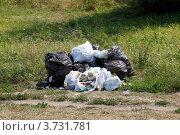 Куча мусора в пакетах на траве, фото № 3731781, снято 7 августа 2012 г. (c) Андрей Ерофеев / Фотобанк Лори
