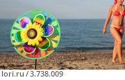 Купить «Игрушка с подсолнечником в центре, которая вращается на фоне моря и женщины», видеоролик № 3738009, снято 21 мая 2011 г. (c) Losevsky Pavel / Фотобанк Лори