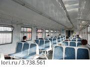 Купить «Интерьер вагона пригородной электрички», фото № 3738561, снято 20 февраля 2019 г. (c) Денис Ларкин / Фотобанк Лори