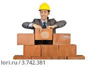 Купить «Строитель складывает кирпичи», фото № 3742381, снято 22 мая 2012 г. (c) Elnur / Фотобанк Лори