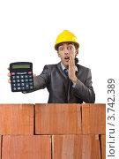 Купить «Удивленный строитель показывает калькулятор», фото № 3742389, снято 22 мая 2012 г. (c) Elnur / Фотобанк Лори
