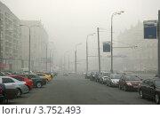 Смог в Москве. Лето 2010 года. Проспект Мира. Редакционное фото, фотограф Иван Блынский / Фотобанк Лори