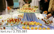 Купить «Люди берут закуски со стола», видеоролик № 3755081, снято 14 октября 2011 г. (c) Losevsky Pavel / Фотобанк Лори