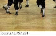 Купить «Мужские ноги в полосатых гетрах и ботинках танцуют в зале», видеоролик № 3757281, снято 25 декабря 2011 г. (c) Losevsky Pavel / Фотобанк Лори