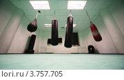 Купить «Боксерские груши разных размеров в тренажерном зале», видеоролик № 3757705, снято 25 ноября 2011 г. (c) Losevsky Pavel / Фотобанк Лори