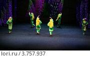 Женский ансамбль в восточных костюмах выступает на сцене (2011 год). Редакционное видео, видеограф Losevsky Pavel / Фотобанк Лори