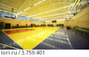 Купить «В освещенном школьном спортивном зале с корзиной», видеоролик № 3759401, снято 21 сентября 2011 г. (c) Losevsky Pavel / Фотобанк Лори