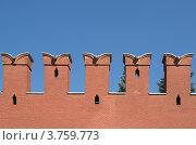 Купить «Зубцы-мерлоны Кремлевской стены. Фрагмент», эксклюзивное фото № 3759773, снято 3 августа 2012 г. (c) Елена Коромыслова / Фотобанк Лори