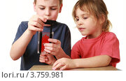 Купить «Мальчик  девочке показывает фокус с гильотиной на белом фоне», видеоролик № 3759981, снято 8 сентября 2011 г. (c) Losevsky Pavel / Фотобанк Лори