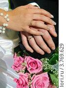 Руки молодожёнов с кольцами. Стоковое фото, фотограф Алексей Казнадей / Фотобанк Лори