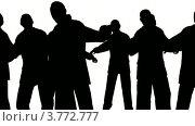 Купить «Силуэты на белом фоне. Много людей танцует», видеоролик № 3772777, снято 29 марта 2009 г. (c) Losevsky Pavel / Фотобанк Лори