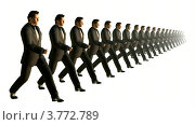 Купить «Отряд бизнесменом марширует в шеренге на белом фоне», видеоролик № 3772789, снято 2 января 2008 г. (c) Losevsky Pavel / Фотобанк Лори