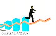 Купить «Бизнесмен бежит по графику вверх на белом фоне», видеоролик № 3772837, снято 30 апреля 2009 г. (c) Losevsky Pavel / Фотобанк Лори
