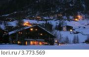 Купить «Горящие окна отеля СПА на горнолыжном курорте зимним вечером, таймлапс», видеоролик № 3773569, снято 2 марта 2012 г. (c) Losevsky Pavel / Фотобанк Лори