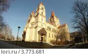 Купить «Церковь Франциска Ассизского в Вене, таймлапс», видеоролик № 3773681, снято 2 марта 2012 г. (c) Losevsky Pavel / Фотобанк Лори