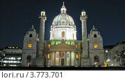 Купить «Карлскирхе на Карлсплац в Вене», видеоролик № 3773701, снято 3 марта 2012 г. (c) Losevsky Pavel / Фотобанк Лори