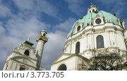 Купить «Башни Карлскирхе в Вене», видеоролик № 3773705, снято 3 марта 2012 г. (c) Losevsky Pavel / Фотобанк Лори