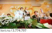 Купить «Молодожены на свадебном банкете стоят с шампанским в руках», видеоролик № 3774797, снято 13 января 2012 г. (c) Losevsky Pavel / Фотобанк Лори