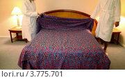 Купить «Мужчина и женщина в банных халатах входят в спальню и снимают покрывало с постели», видеоролик № 3775701, снято 12 марта 2012 г. (c) Losevsky Pavel / Фотобанк Лори