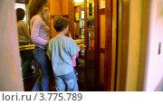 Купить «Двери открываются, и мама с дочкой и сыном заходят в лифт», видеоролик № 3775789, снято 11 марта 2012 г. (c) Losevsky Pavel / Фотобанк Лори