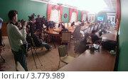 Купить «Журналисты на расширенном заседании Государственного Совета, таймлапс», видеоролик № 3779989, снято 27 мая 2012 г. (c) Losevsky Pavel / Фотобанк Лори
