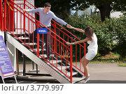Купить «Двое влюблённых дурачатся», фото № 3779997, снято 15 июля 2012 г. (c) Михаил Иванов / Фотобанк Лори