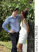 Купить «Двое влюблённых беседуют под деревом», фото № 3780053, снято 15 июля 2012 г. (c) Михаил Иванов / Фотобанк Лори