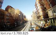 Купить «Пассажиры едут по улицам Мадрида в открытом автобусе, таймлапс», видеоролик № 3780825, снято 19 апреля 2012 г. (c) Losevsky Pavel / Фотобанк Лори