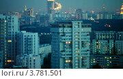 Купить «Панорама городского пейзажа вечером с подсветкой, в движении», видеоролик № 3781501, снято 12 апреля 2012 г. (c) Losevsky Pavel / Фотобанк Лори