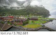 Купить «Маленький порт с домами в долине среди гор», видеоролик № 3782681, снято 11 июня 2012 г. (c) Losevsky Pavel / Фотобанк Лори