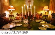 Купить «Пять свечей горят в центре стола в зале ресторана», видеоролик № 3784269, снято 15 марта 2012 г. (c) Losevsky Pavel / Фотобанк Лори