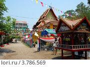 Купить «Вьентьян, Лаос. Буддистский храм, украшенный молитвенными флажками  к Новому году», фото № 3786569, снято 14 апреля 2010 г. (c) Светлана Колобова / Фотобанк Лори