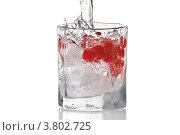 Купить «Стакан с водой, людом и красной клюквой, изолированно на белом фоне», фото № 3802725, снято 12 февраля 2012 г. (c) Борис Булычев / Фотобанк Лори