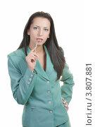 Портрет деловой женщины в зелёном костюме. Стоковое фото, фотограф Татьяна Макотра / Фотобанк Лори