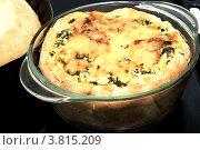 Пирог со шпинатом и сыром в стеклянной посуде. Стоковое фото, фотограф Наталья Райхель / Фотобанк Лори