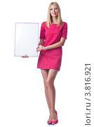 Купить «Стройная молодая женщина в коротком платье с баннером в руках, изолированно на белом фоне», фото № 3816921, снято 6 июля 2012 г. (c) Elnur / Фотобанк Лори