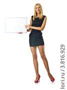 Купить «Стройная молодая женщина в коротком платье держит в руках баннер, изолированно на белом фоне», фото № 3816929, снято 6 июля 2012 г. (c) Elnur / Фотобанк Лори