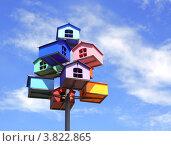 Купить «Разноцветные скворечники», фото № 3822865, снято 11 июля 2012 г. (c) Лукиянова Наталья / Фотобанк Лори