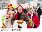 Купить «Девушки празднуют масленицу», фото № 3824881, снято 26 февраля 2012 г. (c) Яков Филимонов / Фотобанк Лори