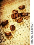 Купить «Зерна кофе на мешковине, малая глубина резкости», фото № 3839521, снято 4 сентября 2012 г. (c) Наталия Кленова / Фотобанк Лори